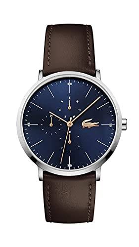 Lacoste Stainless Steel Quartz Watch with Leather Strap, Brown, 19.5 (Model: 2010976)