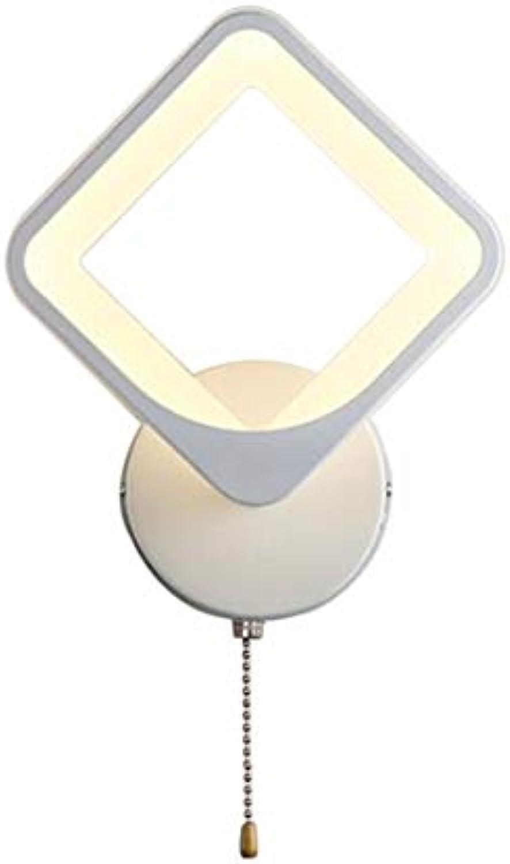 LED-Zugkettenlesewand-Wandleuchte-moderne nordische Nachtschlafzimmer-Wohnzimmer-Metallwandleuchte (Farbe   Wei)