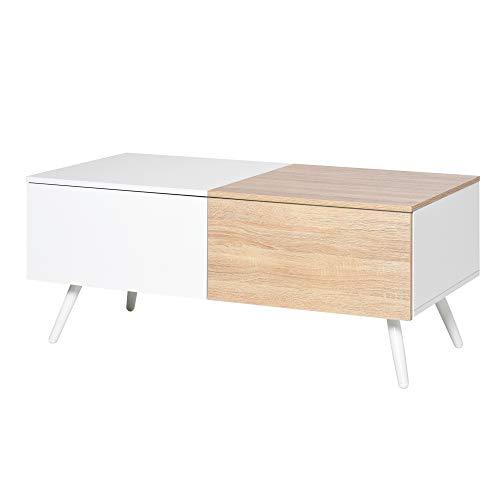homcom Tavolino da Salotto Stile Nordico con 2 Cassetti, Mobiletto Moderno Casa e Ufficio, Bianco e Rovere, 110x60x45cm