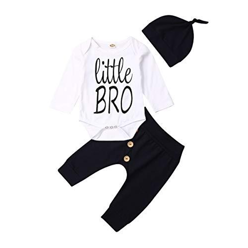 CIPOGL Kleinkind Baby Jungen Kleidung Little Brother Drucken Langarm Strampler Bodysuit+ Hosen +Hut Baby Jungen Outfits Babykleidung (White, 70)