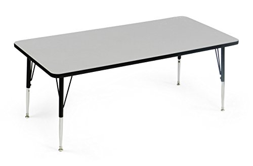 "Correll AM2448-REC-15 Econoline Activity Table, Height Adjustable, 24""x48"", Rectangular Smooth & Hard Gray Granite Melamine Top, Heavy Duty Legs, 24""x48"" Rectangular, Multicolor"