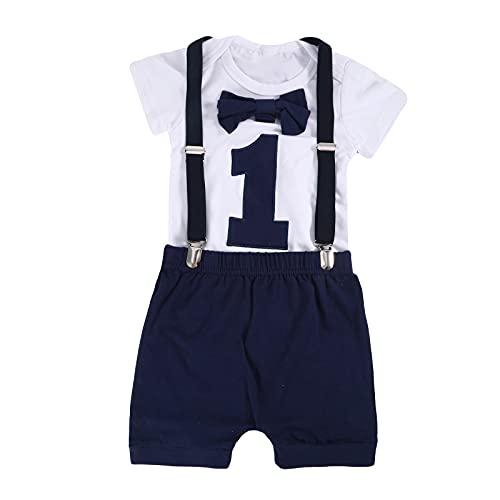 Chennie Conjunto de ropa de primer cumpleaños para bebé niño con pajarita y tirantes, pantalones para caballero para fotografía fotográfica (Azul Marino-a, 9-12 meses)