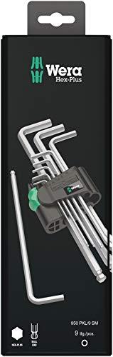 Wera 05073391001 Ensemble de clés mâles coudées 950 PKL/9 SM N SB métrique, Argent