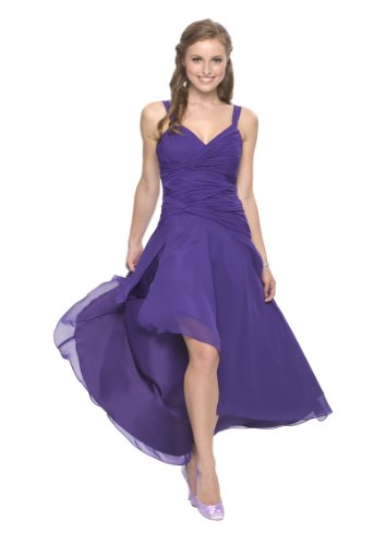 Astrapahl Damen Cocktail Kleid mit schönen Raffungen, Knielang, Einfarbig, Gr. 46, Violett (Lavendel)