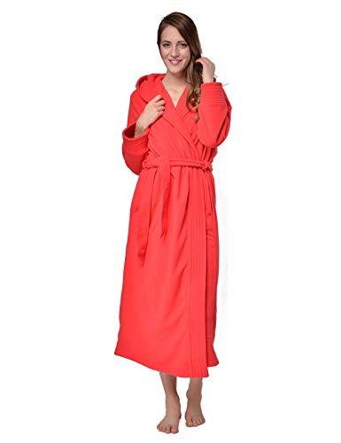 RAIKOU Albornoz de Baño para Mujer con Capucha - 100% Poliéster Certificado Oeko Tex - Bata Baño Mujer 2 Bolsillos, Cinturón y Cierre - Suave, Absorbente y Cómodo(Rojo,44-46)