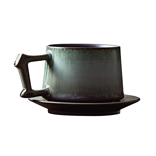 Fengshop Tazas para niños Taza de café, Taza de cerámica Gruesa Hecha a Mano, Taza de café y platillo Conjunto de combinación, Creativo, Personalidad, Regalo for Familia, 8.5oz Taza