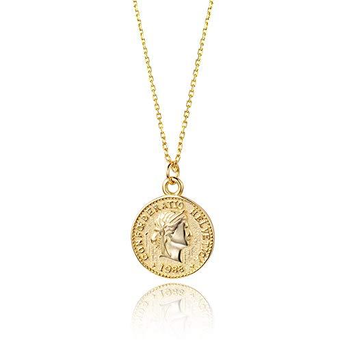 Wikimiu Collar con colgante de moneda de oro para Mujer, Joyas de moda vintage para el día de san valentín de cumpleaños