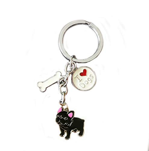 Keychains, Lovely Dog Key-ring Portable Metal Keychain Keyring Key Decor Car Keyring Tag (Black French Bulldog)
