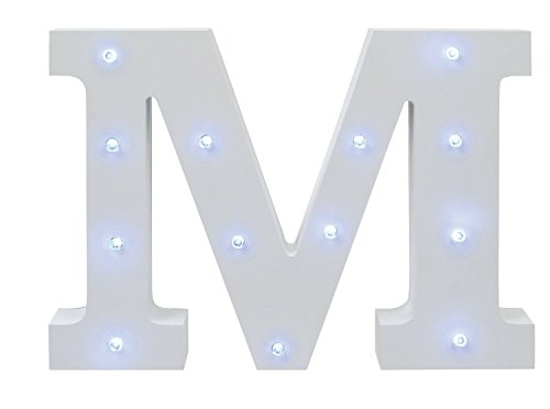 AntEuro Luces Decorativas LED, Diseño de Alfabeto de Madera en Color Blanco Letras Luces - Letra M