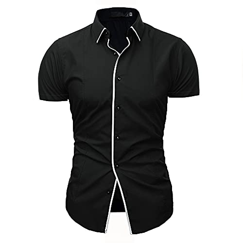 Tradicional Camisa Hombre Moderna Urbana Simplicidad Moda Empalme Hombre Shirt Verano Básico Slim Fit Elásticos Hombre Manga Corta Negocios Casual Boda Anfitrión Camisa B-Black L