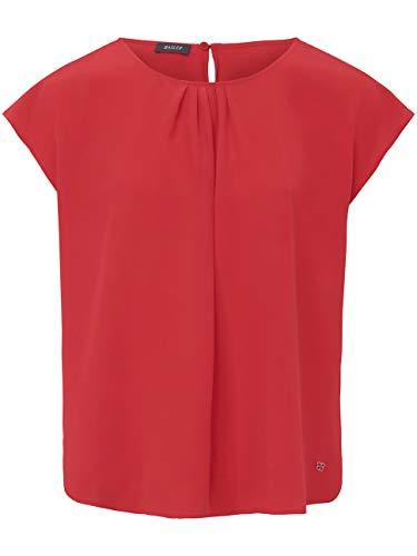Basler Damen Bluse mit gerafftem Ausschnitt und Kappärmeln
