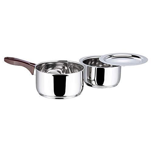Vinod Stainless Steel Regular Saucepan (1.8ltr), Mirror & Capsule Bottom Tope 1Ltr with Lid (Induction Friendly), Mirror