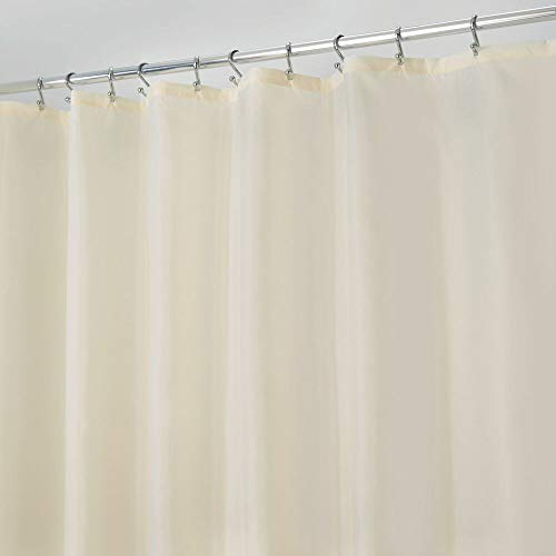 mDesign Duschvorhang, extra breit, wasserabweisend, schimmelresistent, strapazierfähiger Flachgewebe, mit Beschwerungsband am unteren Saum, für Dusche & Badewanne, 182,9 x 274,3 cm, sandfarben/khaki