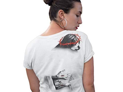 Ox Fit Jesus Hug Christian T-Shirt (M Women) White