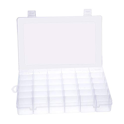Mobengo 36 Rejillas de plástico Transparente joyero Organizador de Almacenamiento contenedor con separadores extraíbles