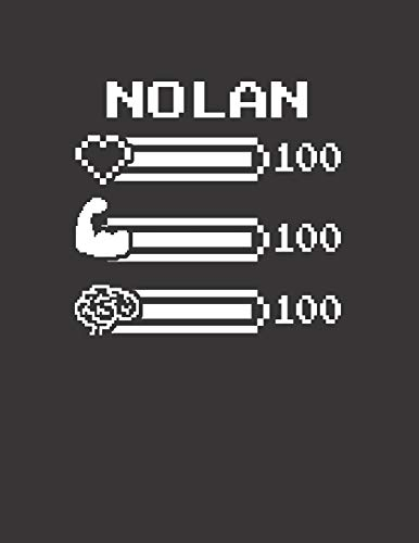 NOLAN: Pixel Retro Game 8 Bit Design Blank Composition Notebook College Ruled, Name Personalized for Boys & Men. Gaming Desk Stuff for Gamer Boys. ... Gift. Birthday & Christmas Gift for Men.