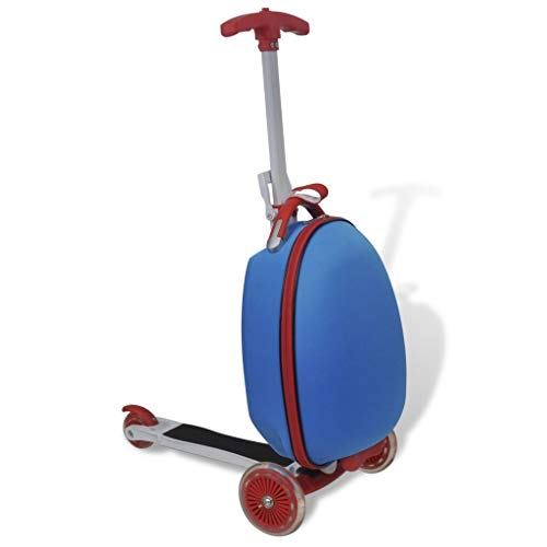 Tidyard Kid's Luggage Scooter with Trolley Storage Case with 3 Wheels Large Deck for Children 50 kg Load Capacity Blue