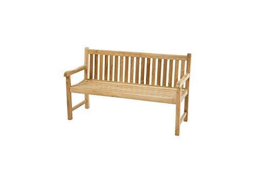 Ploß Landhausbank Coventry 150 cm - Holz-Gartenbank in Braun - Friesenbank für 2 Personen mit FSC-Zertifikat - Teakholz-Bank mit Armlehnen - Sitzbank für Garten, Terrasse & Balkon