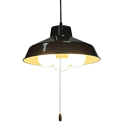 KIRIN Industrial Pendant Light Fixture with Pull Chain, Black Metal Vintage Hanging Lamp Pull String Light Fixture 3 Lights Edison E26
