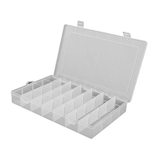 VORCOOL 28-grid ajustable organizador de joyas Bead–Caja de almacenamiento contenedor Case (transparente)