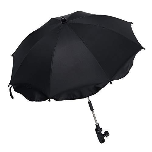 Ombrelle poussette universelle anti UV 50+, Parapluie poussette universelle pliant, Parasol poussette universelle avec support amovible réglable, Ombrelle bébé confort flexible (Noir, 65 x 68 cm)