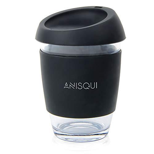 AniSqui Taza de café de Cristal Reutilizable (350ml, sin BPA, Tapa de Silicona ecológica)(Negro)