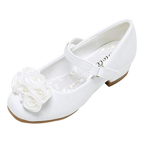 Stelle Girls Mary Jane Flats Low Heel Party Dress Shoes for Kids Flower Girls (T10-White, 12ML)