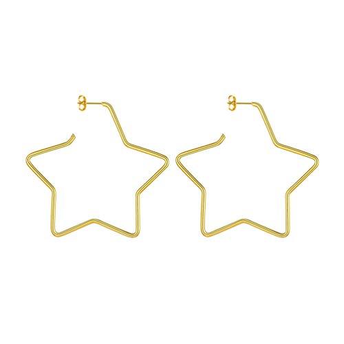 PROSTEEL 18k vergoldet Ohrringe für Frauen Mädchen 60mm Groß Stern Creolen Ohrringe Damen Stern Ohrstecker Ohrpiercing Accessoire Schmuck Geschenk für Valentinstag