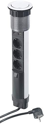 revolt Versenkbare Steckdose: Versenkbare 3-fach-Tisch-Steckdosenleiste mit 2 USB-Ladeports, Ø 76 mm (Tischsteckdose mit USB)