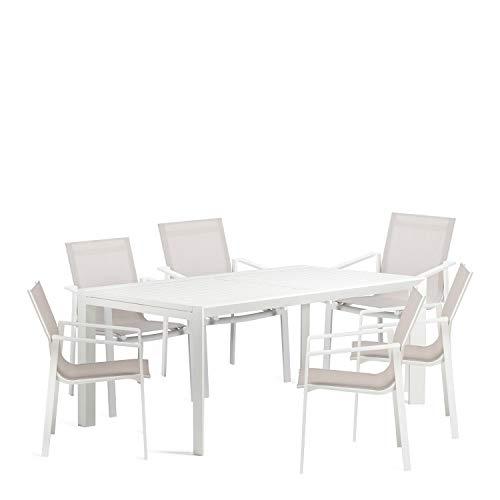 SKLUM Pack Mesa Extensible de Exterior (180-240 cm) Starmi & 6 Sillas de Exterior Eika Acero Blanco - (Elige Color)