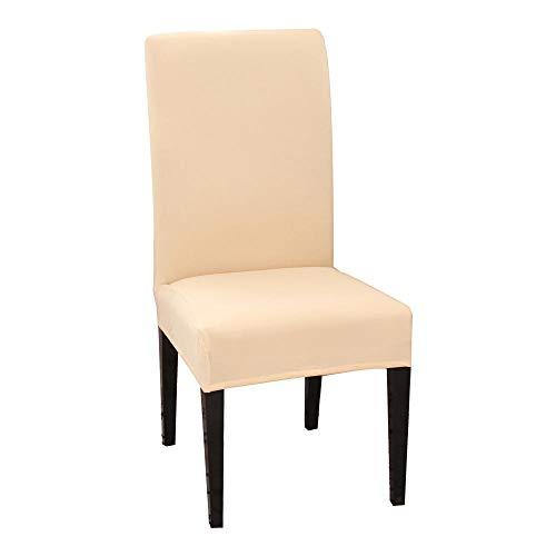 flqwe Cubierta de Asiento Extraíble de Comedor,Funda elástica para sillas 1/2/4/6 Unidad-Color Crema_6pcs,Extraíbles y Lavables-Decor Restaurante