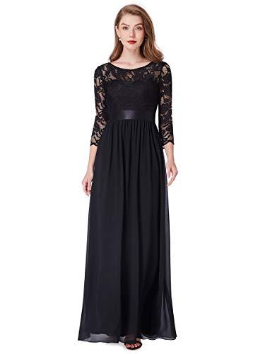 Ever-Pretty Vestito da Sera Donna 3/4 Manich Stile Impero Maxi Linea ad A Pizzo Chiffon Abito da Cerimonia Nero 44