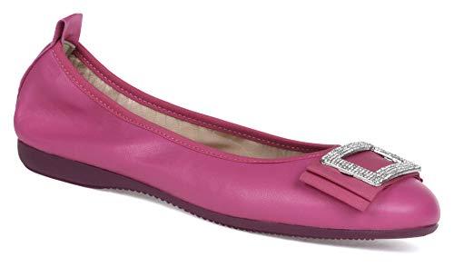 La Ballerina Adriana - Pulsera de piel de napa con brillantes incrustados, color rosa, color Rosa, talla 37 EU