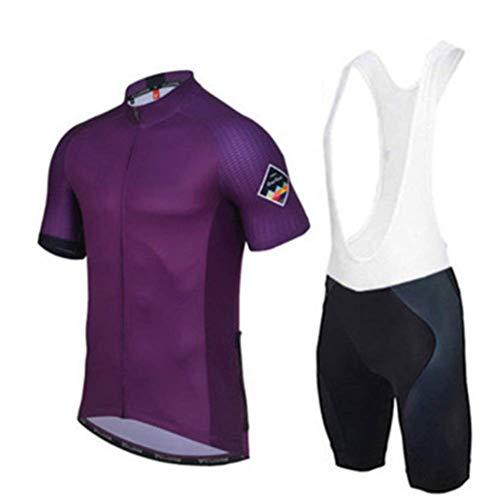 OHGGB Men's Cycling Jersey Short Sleeve Full Zip Bike Clothing Set Quick-Dry Bib Shorts with 9D Gel Padded,A,M