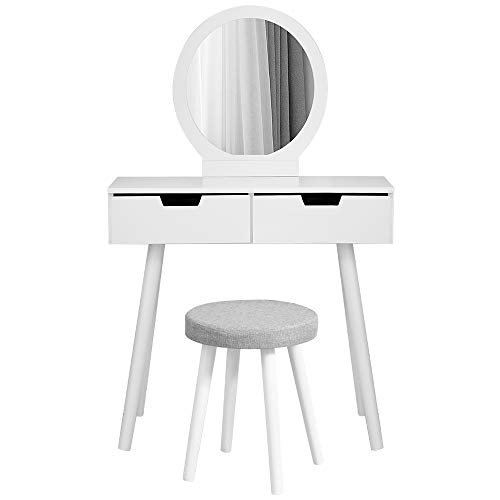 Kaptafel, Kaptafel met lades, Kruk en Spiegel,Modern ontwerp (Wit)