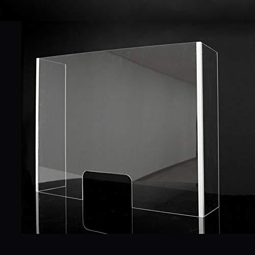 Mampara Metacrilato Plástico Transparente con laterales | Pantalla separadora metacrilato con ventana (120x90x30cm)