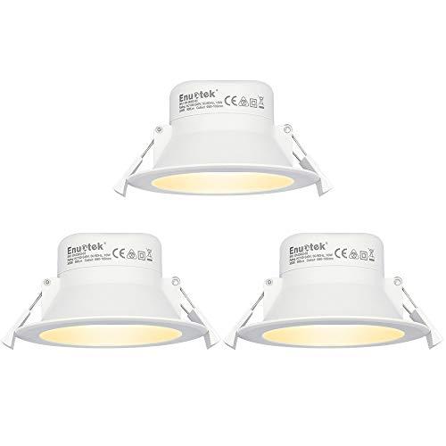 Lampade Plafoniere Faretti a LED da Incasso a Soffitto 10W Luce Calda 3000K Diametro Buco 90-105MM AC100~240V IP44 per Cucina Bagno Soggiorno Lot di 3 di Enuotek