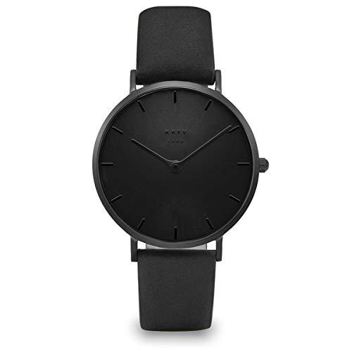 XXIV SOHO Taupe Rose | Nude Black | Black Olive | Black Night Horloge Modern & Ultraplat - Lederen armband - 38 mm diameter