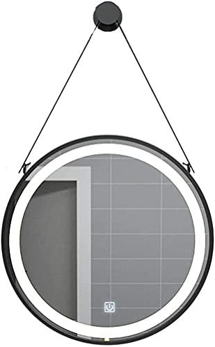 Espejo de mesa de maquillaje Espejo de baño Iluminado LED ligero Montado en la pared de maquillaje redondo Espejo de la sala de estar espejo decorativo con sling Smart Touch Interruptor puede descoger