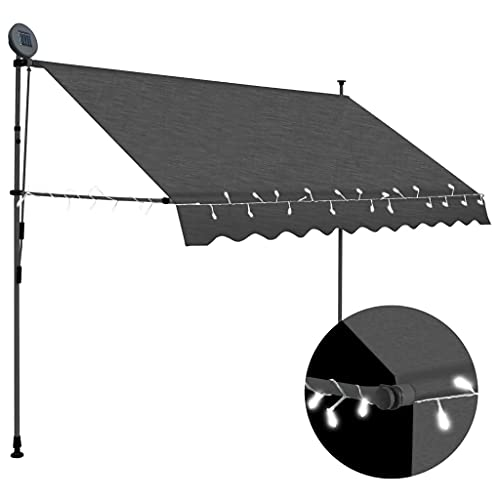 vidaXL Markise Einziehbar Handbetrieben mit LED Wasserabweisend Klemmmarkise Balkonmarkise Sonnenschutz Terrasse Balkon Garten 250cm Anthrazit