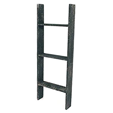BarnwoodUSA Rustic Farmhouse Blanket Ladder - Our 3 ft Ladder can be Mounted Horizontally Vertically is Crafted from 100% Recycled Reclaimed Wood   No Assembly Required   Black