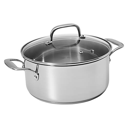 Amazon Basics Stainless Steel Dutch Oven with Lid, 5-Quart