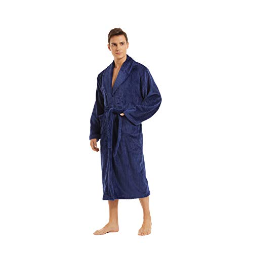 iniber Men Robes Soft Lightweight Robes Full Length Robe,Plus Size M-4XL Warm Bathrobe