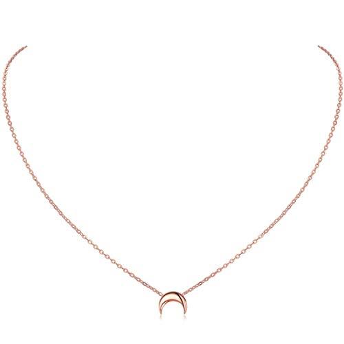 ChicSilver Colgante Luna Invertida Oro Rosa Collar Delicioso Plata de Ley 925 Regalo Moderno para Novias Hijas Amigas Medallón Pequeño Joyería Minimalista