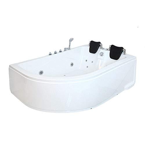 Whirlpool Badewanne - Blue Ocean XL weiß links mit Massage für 2 Personen - Maße: 180 x 120 x 65 cm | Eckwanne, 2 Personen, Indoor Jacuzzi