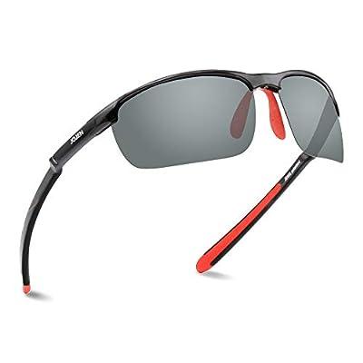 JOJEN Polarized Sports Sunglasses for men women Baseball Running Cycling Fishing Golf Tr90 ultralight Frame JE001 (Black Frame Grey REVO Lens 02)