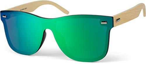styleBREAKER Unisex Monoglas Nerd Sonnenbrille mit Bambus Bügeln und Polycarbonat Glas, Retro Style 09020112, Farbe:Gestell Hellbraun/Glas Grün-Blau verspiegelt