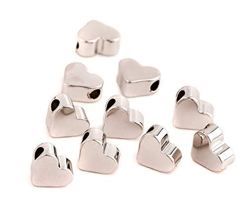 Sadingo Herzperlen Silber Metall, versilbert, Zwischenperlen, Perlen für Armbänder basteln, 7 x 6 mm, 20 Stück