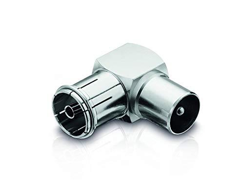 adaptare 60710 90 Grad Winkel Adapter mit IEC-TV-Antenne Stecker und Buchse Nickel