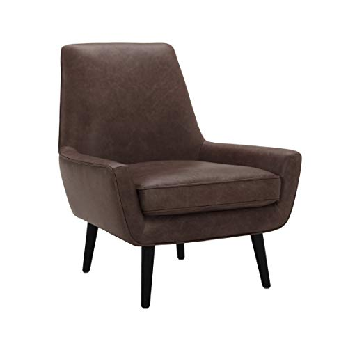 """Amazon Brand – Rivet Jamie Leather Mid-Century Modern Low Arm Accent Chair, 31""""W, Brown"""